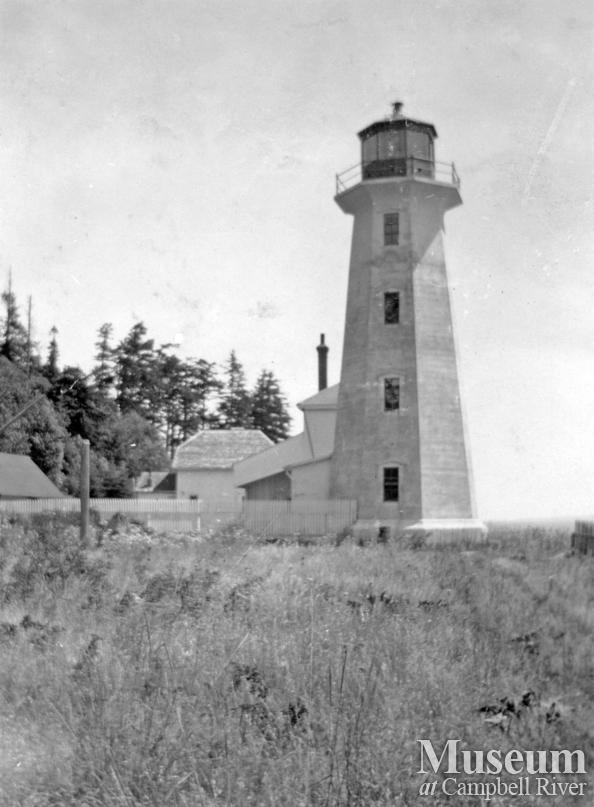 View of lighthouse at Cape Mudge, 1920s