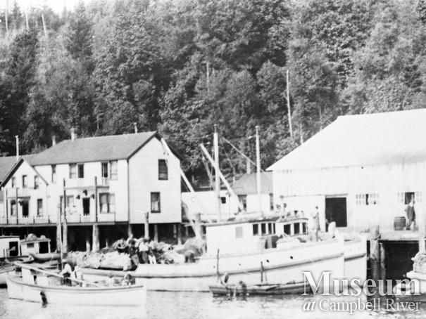 Commercial fishing boats tied up in front of Quathiaski Cannery, Quadra Island