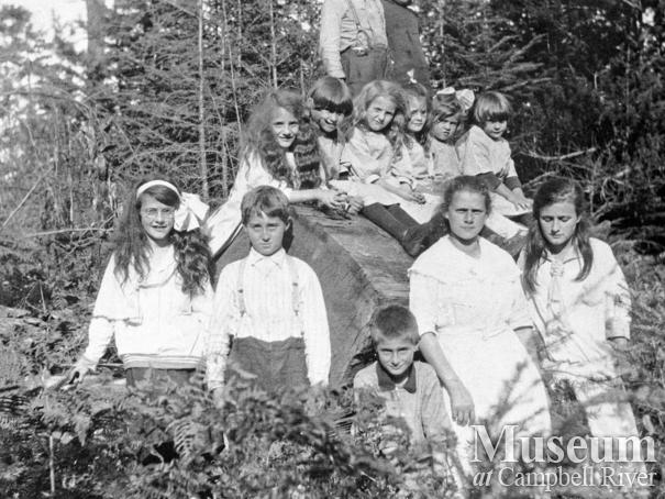 Group of school children at Mansons Landing, Cortes Island