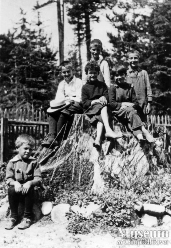 Group of school children at the Mansons Landing school on Cortes Island