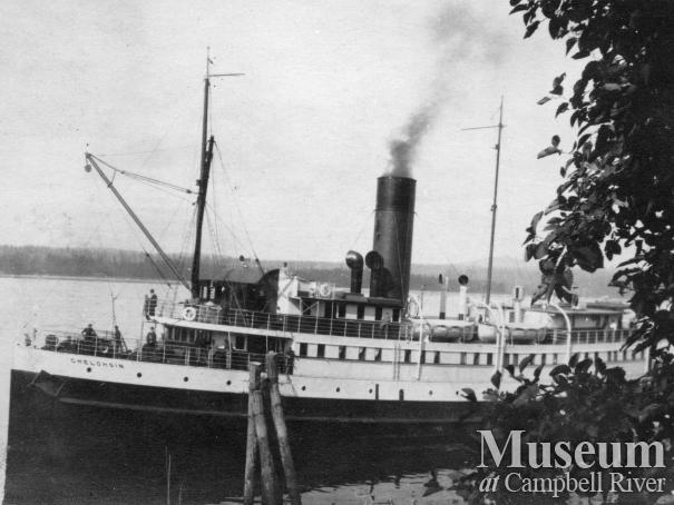 Union Steamship SS Chelohsin at Quathiaski Cove, Quadra Island