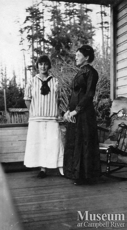 Dot and Emma Yeatman on their porch, Quadra Island