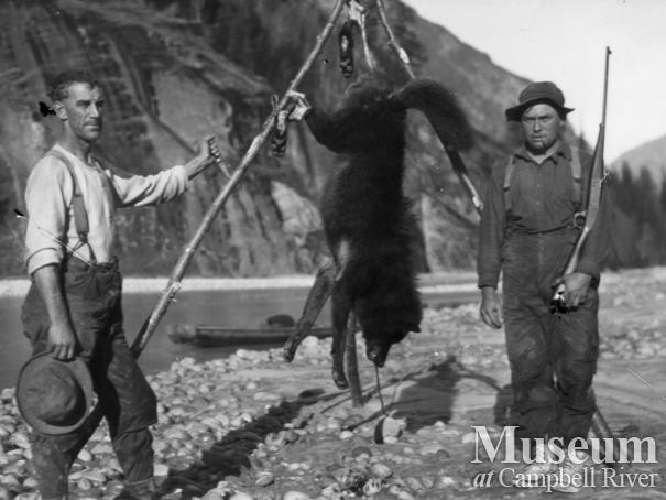 Jack McPhee and Ed Atkins at Bute Inlet with wolf skin