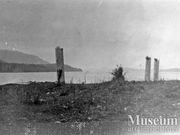 View of remains at Cheslakees village, Nimpkish River