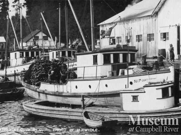 Seine boats tied up at Quathiaski Canning Co. wharf,  Quadra Island
