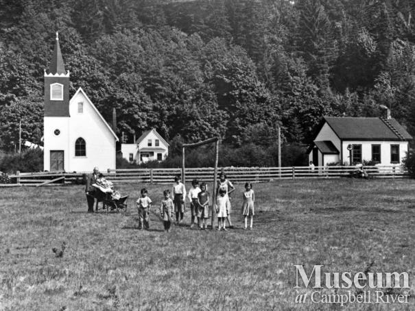 Group of children on field at the Cape Mudge Village, Quadra Island