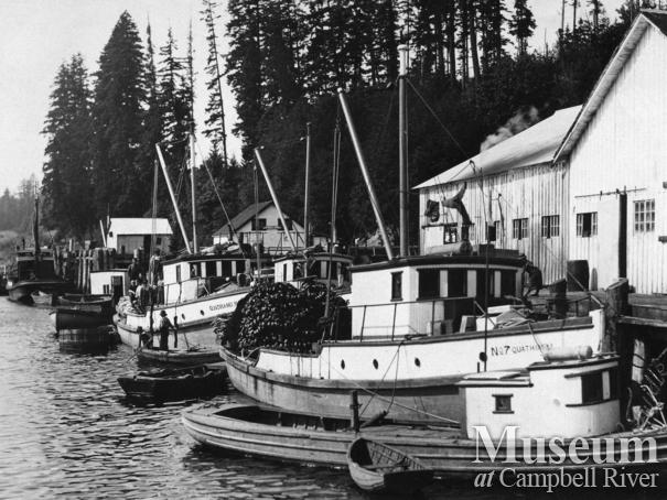 Seine boats tied up at Quathiaski Canning Co. wharf, Quathiaski Cove, Quadra Island