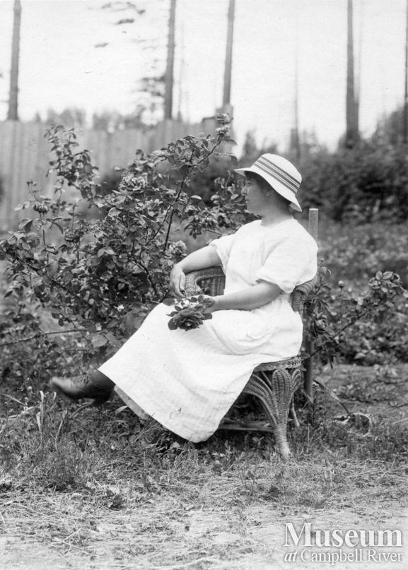 Agnes Twidle in her garden, Granite Bay, Quadra Island