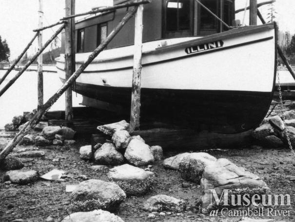 "Twidle's Boat, ""The Illini"" on the slipways at Granite Bay"