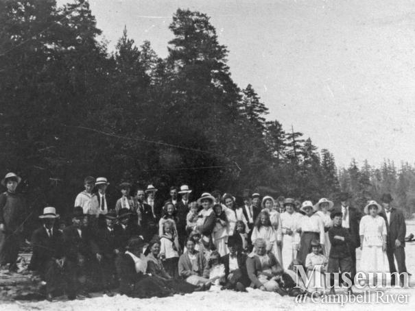 Cortes Island settlers at May 24th picnic at Hague Lake