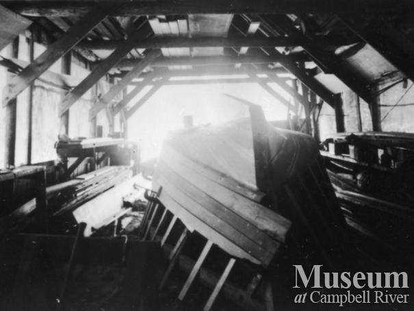A boat under construction in August Schnarr's boat shed