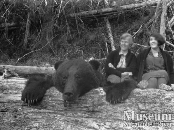 Mrs. Johnson and Zaida Schnarr with bear pelt