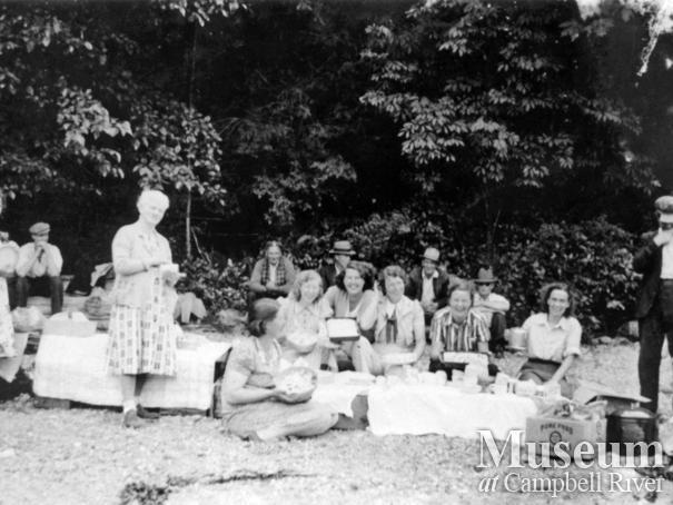 Group of Stuart Island residents having a picnic