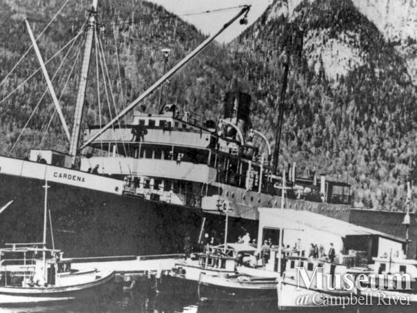 "Union Steamship ""Cardena"" tied up at the dock at Stuart Island"