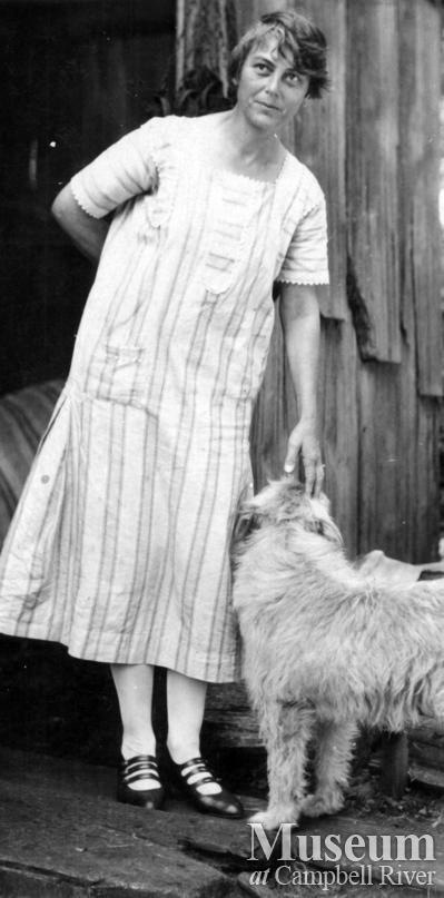 Laurette Staton with a dog