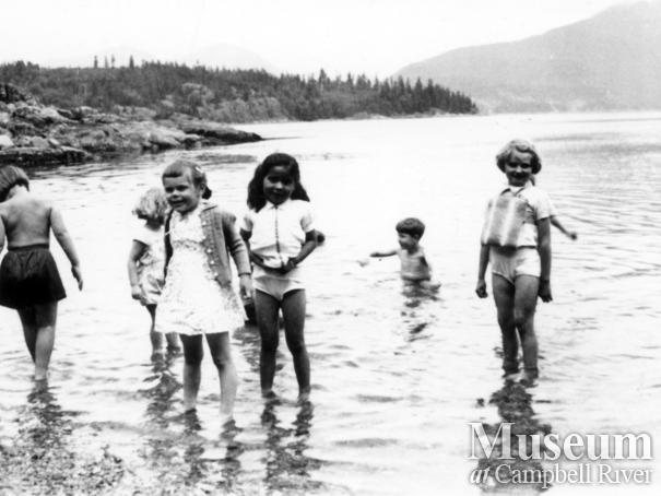Children on beach during at Stuart Island