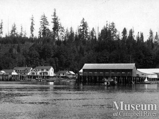View of Quathiaski Cove Cannery and new net loft, Quadra Island