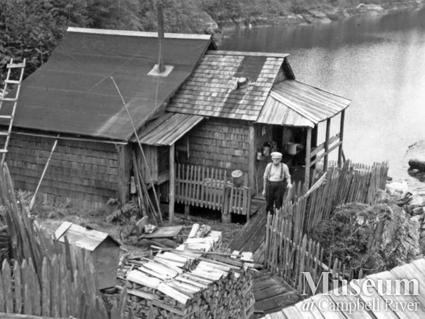 Phil Lavigne at his homestead, Prideaux Haven