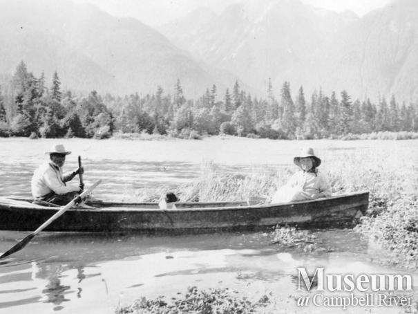 Johnny and Jenny Macamoose in their canoe