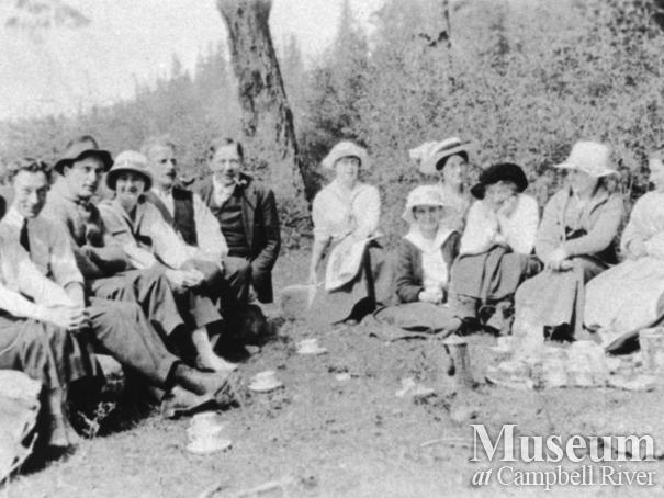 Group of Quadra Island residents having an Easter picnic at the Lighthouse
