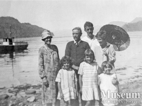 Members of the Walker family having a picnic at Seymour Narrows