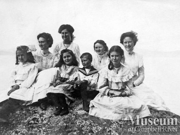 Group of Quadra ladies and their children on the beach, Quadra Island