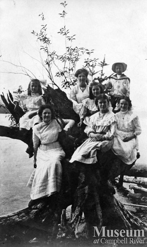 Quadra Island ladies and children on beach at Heriot Bay