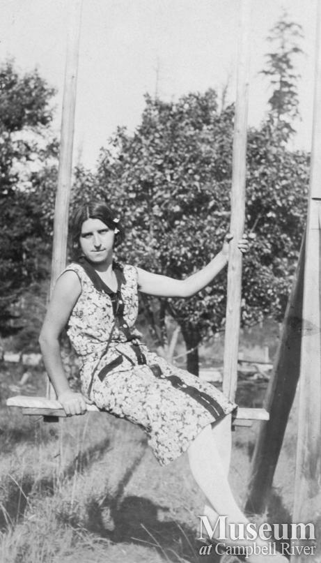 Karen Hansen on swing at Port Neville, B.C.