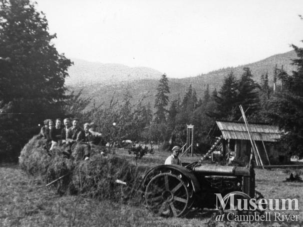 Bringing in the hay at the Hansen farm, Port Neville, B.C.