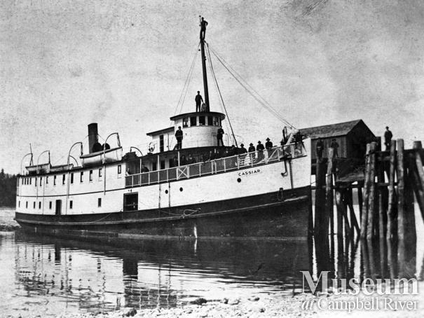 Union Steamship the S.S. Cassiar at wharf at Heriot Bay, Quadra Island