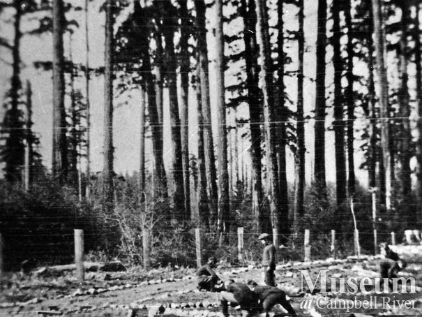 Students at Quadra Island School, possibly working on a garden