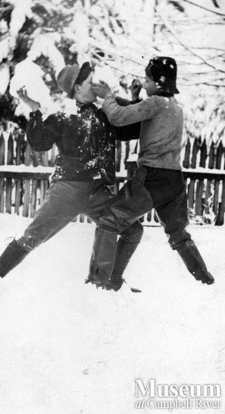 Rob and Frank Yeatman having a snow ball fight, Quadra Island