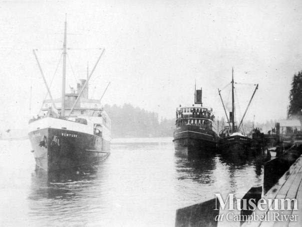 Three Union Steamships at the wharf in Quathiaski Cove