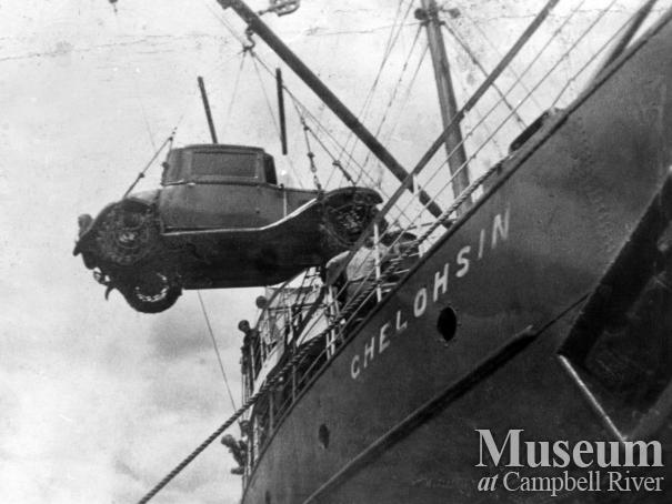 Erro Luoma's car being unloaded off the Union Steamship Chelohsin at Granite Bay