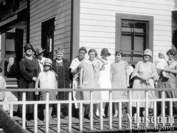 Social gathering at the Anderson family home in Quathiaski Cove