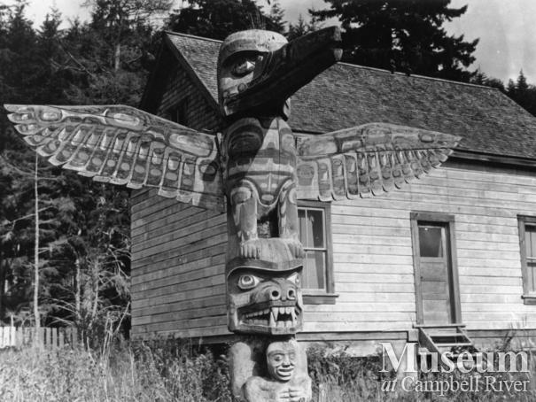 Totem Pole in Kalokwis Village, Turner Island