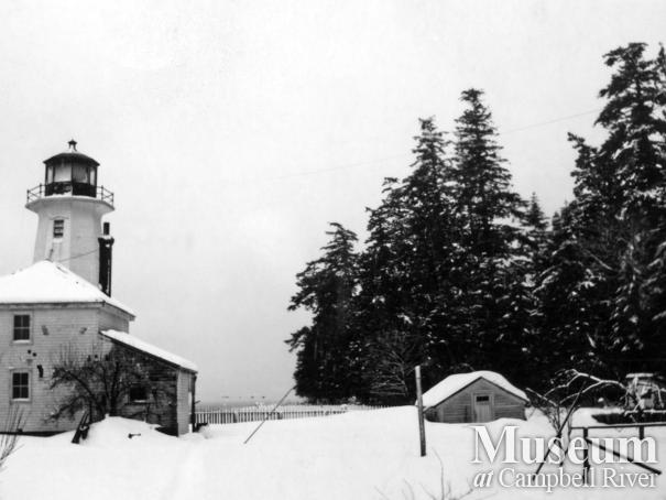 View of the Cape Mudge lighthouse in the winter