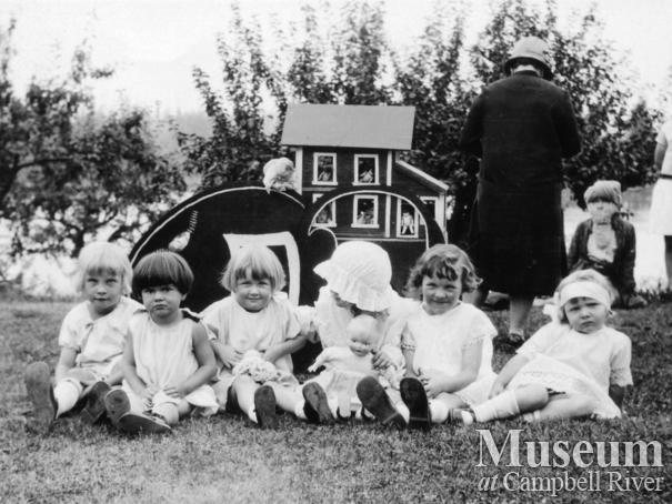 Group of children at the Walker home on Mother Goose Day, Quadra Island