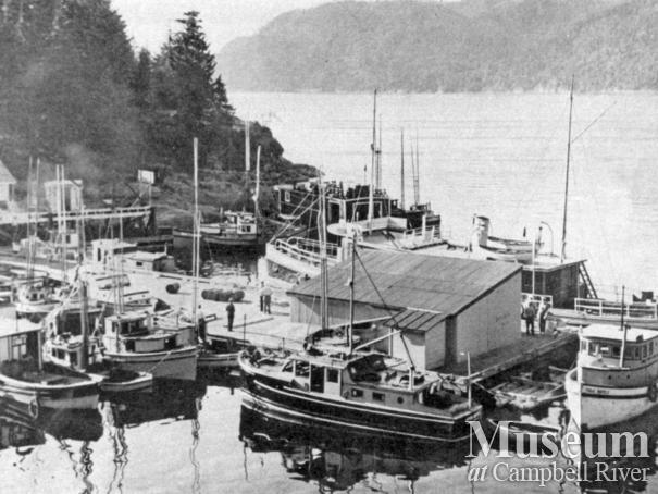 Boats tied up at the wharf at the Landing, Stuart Island