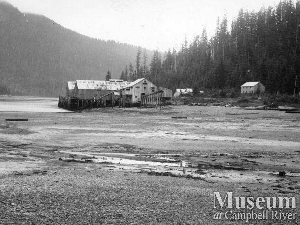 Likely a view of the cannery at Blind Channel, West Thurlow Island