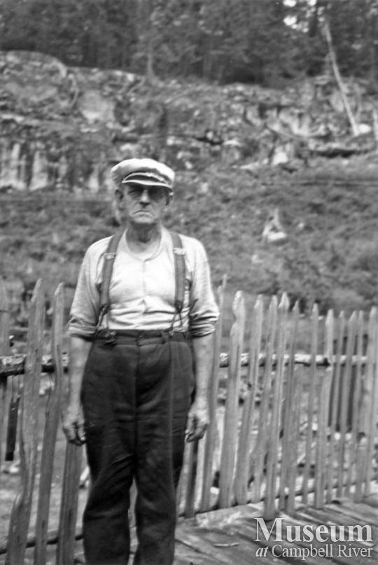 Phil Lavigne at his homestead, Prideaux Haven