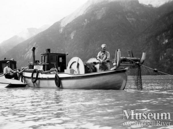 Angus Kerr hauling in his gillnet at Toba Inlet