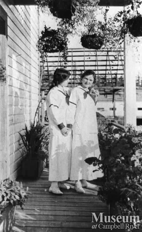 Velma and Mae Anderson on verandah of their home at Quathiaski Cove